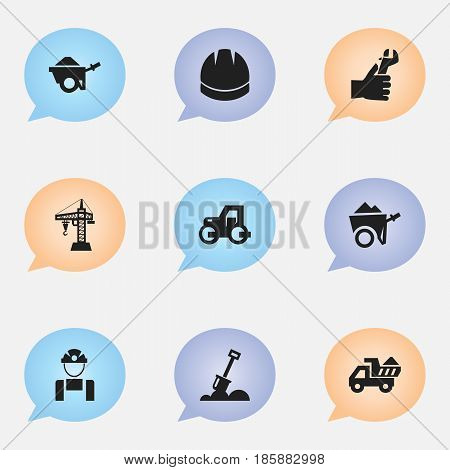 Set Of 9 Editable Construction Icons. Includes Symbols Such As Trolley , Hands , Camion. Can Be Used For Web, Mobile, UI And Infographic Design.