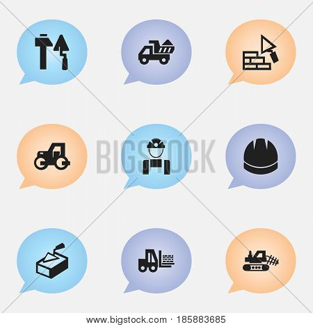 Set Of 9 Editable Construction Icons. Includes Symbols Such As Spatula, Construction Tools, Truck And More. Can Be Used For Web, Mobile, UI And Infographic Design.