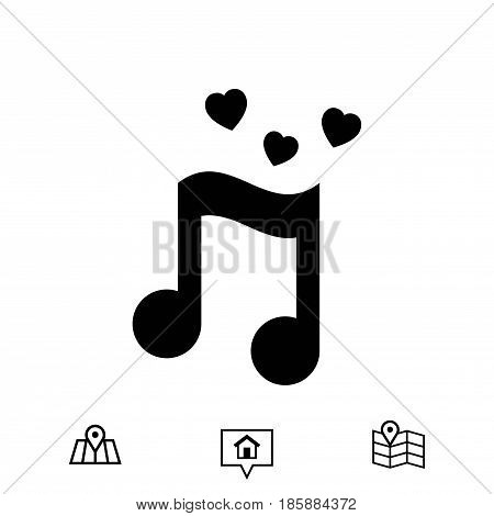 musical note with hearts icon stock vector illustration flat design