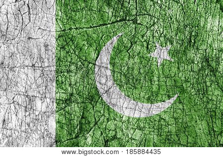 Grudge stone painted Pakistan flag close up