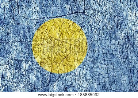 Grudge stone painted Palau flag close up
