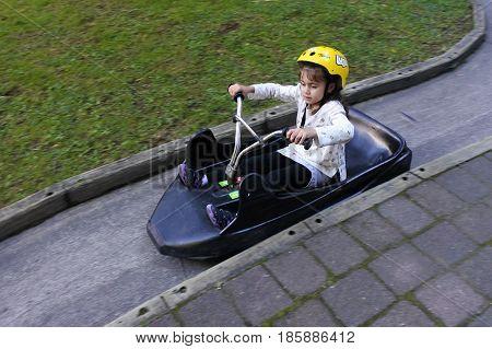 Young Girl Ride On Skyline Rotorua Luge