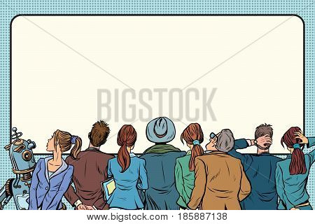 Retro group of people are watching on the silver screen. Pop art retro vector illustration