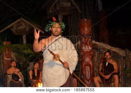 Maori Tribal Chief And People