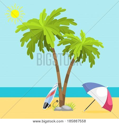 Summer time seach sea shore realistic accessory vector illustration. Sunshine travel hot season decoration holiday vacation beautiful graphic paradise concept.