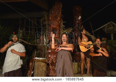 Maori People Sing And Dance