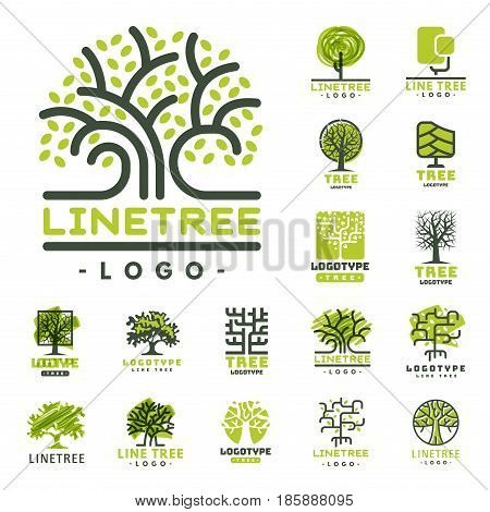 Tree outdoor travel green silhouette forest logo coniferous natural badge tops line spruce branch cedar and plant leaf abstract stem drawing vector illustration. Panorama scene horizon decoration.