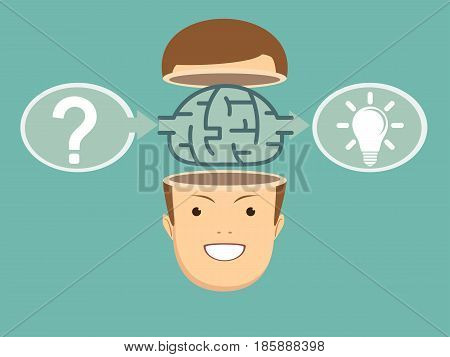 Brainstorm concept idea. Innovation and solution, vector illustration