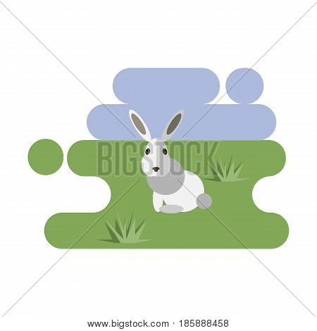 Flat cartoon white rabbit icon on blue and green background. Vector illustration