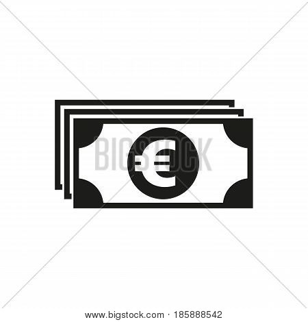 Money icon. Euro and cash, coin, currency, bank symbol. Flat design. Stock - Vector illustration