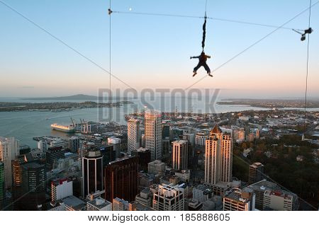 Motion Blur Of A Young Person Jumps Off Auckland City Sky Tower