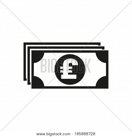 Money icon. Pound sterling and cash, coin, currency, bank symbol. Flat design. Stock - Vector illustration
