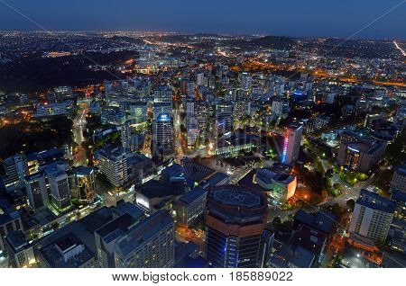 Aerial Urban Landscape View Of Auckland City At Dusk