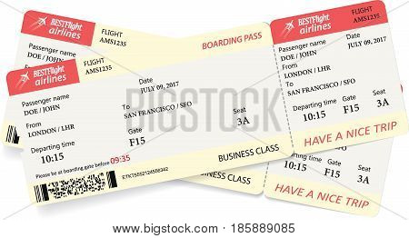 Two boarding pass tickets in red and yellow colors. Vector template