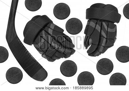 Hockey gloves putter and washers on a white background. Isolated hockey