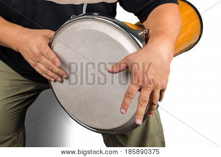 Man Playing on the Bongo Drum - Isolated