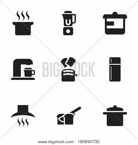 Set Of 9 Editable Cook Icons. Includes Symbols Such As Refrigerator, Bakery, Kitchen Hood And More. Can Be Used For Web, Mobile, UI And Infographic Design.