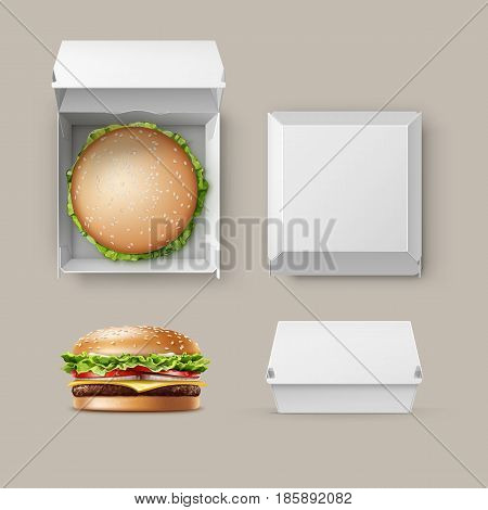 Vector Set of Realistic Empty Blank White Carton Package Box Container for Branding with Hamburger Classic Burger American Cheeseburger Close up Top Side View isolated on white Background. Fast Food