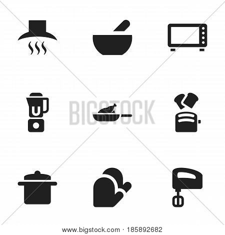 Set Of 9 Editable Cooking Icons. Includes Symbols Such As Kitchen Glove, Hand Mixer, Kitchen Hood. Can Be Used For Web, Mobile, UI And Infographic Design.
