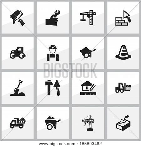 Set Of 16 Editable Construction Icons. Includes Symbols Such As Lifting Equipment, Scrub, Hands. Can Be Used For Web, Mobile, UI And Infographic Design.