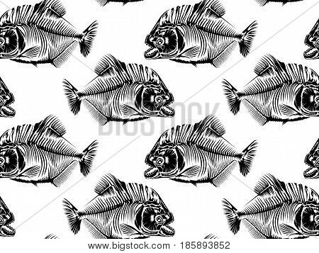 Piranha Seamless Pattern White