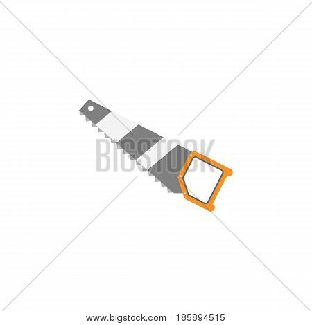 Hand saw flat icon, build repair elements, construction tool, a colorful solid pattern on a white background, eps 10.