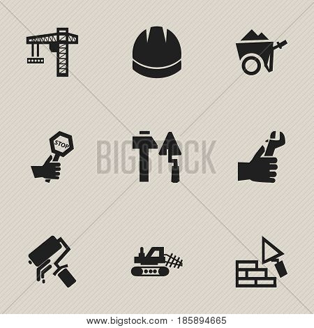 Set Of 9 Editable Construction Icons. Includes Symbols Such As Handcart , Endurance , Hardhat. Can Be Used For Web, Mobile, UI And Infographic Design.