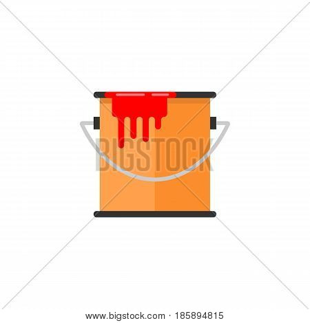 Bucket of paint flat icon, build repair elements, construction tool, a colorful solid pattern on a white background, eps 10.