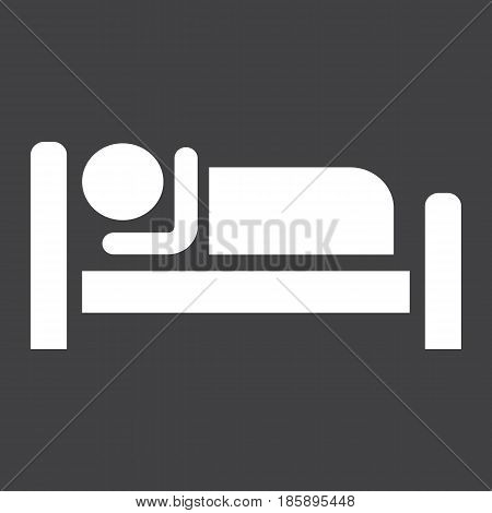 Person in bed and Hotel solid icon, Travel and tourism, motel vector graphics, a linear pattern on a black background, eps 10.