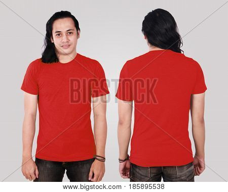 Photo image of an Asian Model smiling and showing blank red T-Shirt front and rear view shirt template