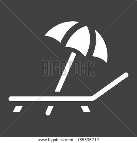 Beach umbrella with deckchair solid icon, Travel and tourism, vector graphics, a filled pattern on a black background, eps 10.