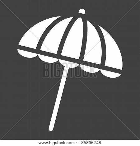 Sun umbrella solid icon, travel and tourism, parasol, a filled pattern on a black background, eps 10.