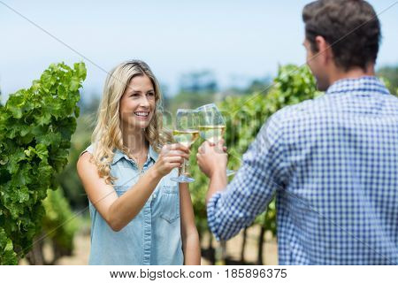 Happy couple looking at each other while toasting wineglasses at vineyard