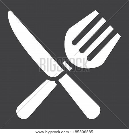 Fork and Knife solid icon, dinner and restaurant, vector graphics, a filled pattern on a black background, eps 10.
