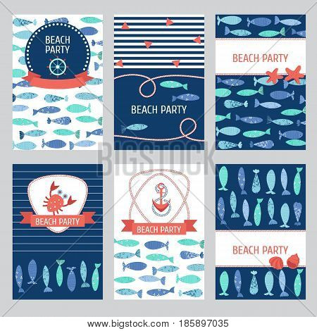 Set of 6 summer holiday sea vacation ocean trip backgrounds. Marine card template. Vector illustration.