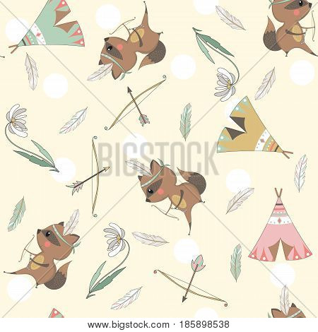 Tribal seamless pattern with raccoons wigwams bow arrows feathers and flowers for children. Vector illustration.