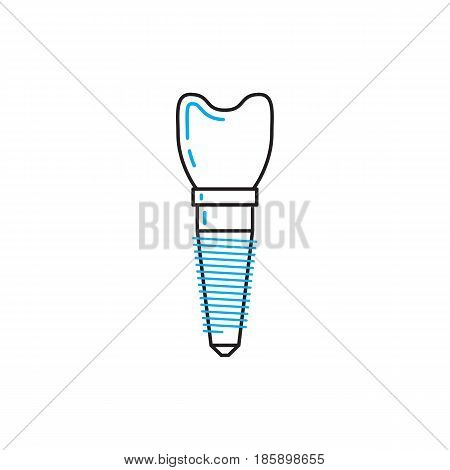 Dental implant vector icon drawn in the linear style, vector illustration isolated on white background. Medical banner with place for text