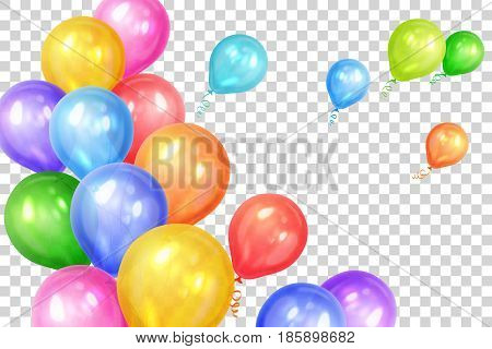Bunch of colorful helium balloons isolated on transparent background. Party decorations for birthday anniversary celebration. Vector illustration