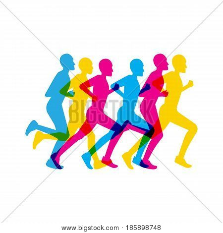 group of people running a marathon colored in a flat style on a white isolated background