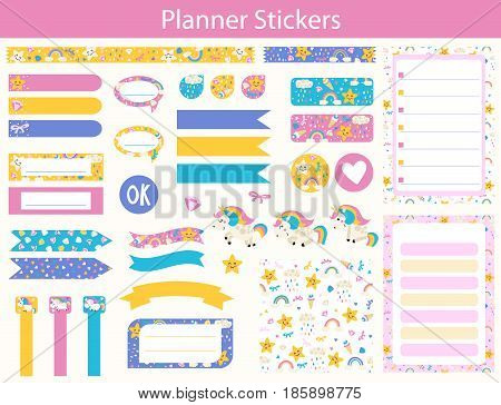 Set of planner stickers with cute Unicorn rainbow and star In simple kids cartoon style. Weekly Planner pages.