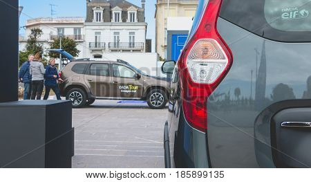 Sables d Olonne France - May 07 2017 : Dacia Tour 2017 is a commercial operation organized by the car builder in order to present its cars throughout France - Close-up on cars