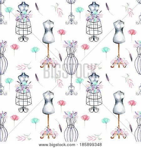 Seamless pattern with watercolor retro mannequins and pink and mint flowers, hand drawn isolated on a white background