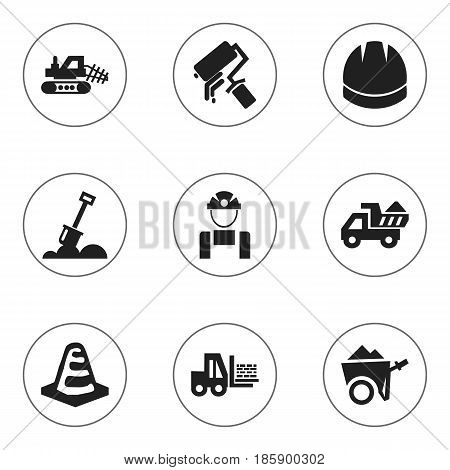 Set Of 9 Editable Structure Icons. Includes Symbols Such As Notice Object, Camion, Hardhat And More. Can Be Used For Web, Mobile, UI And Infographic Design.
