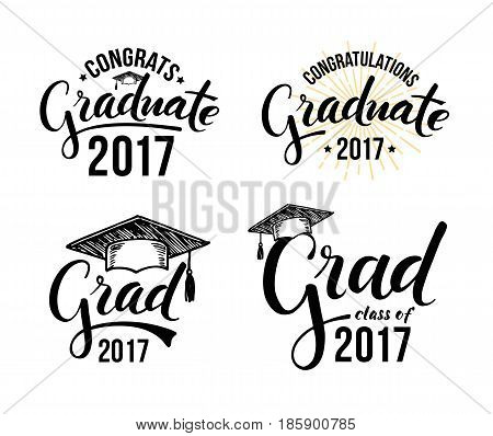 Set of graduation labels. Vector isolated elements for graduation design congratulation event party high school or college graduate. Congratulations graduate 2017