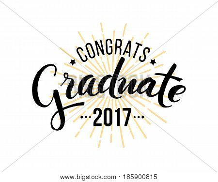 Congratulations graduate 2017. Vector isolated elements for graduation design congratulation event party high school or college graduate