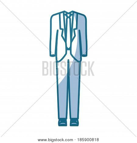 blue silhouette shading of male formal suit clothing vector illustration