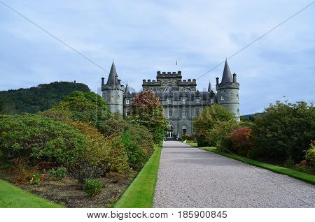 Inveraray Castle in Argyll Scotland with round towers and turrets.
