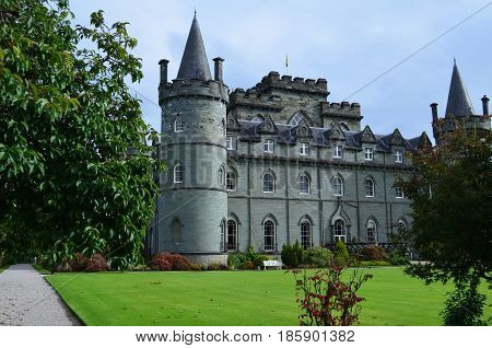 Perfect landscaping around Inveraray Castle in Argyll Scotland.