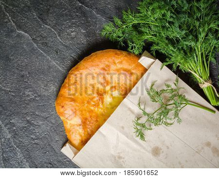 Georgian Hot Khachapuri Bread On A Dark Background. Place For The Text.
