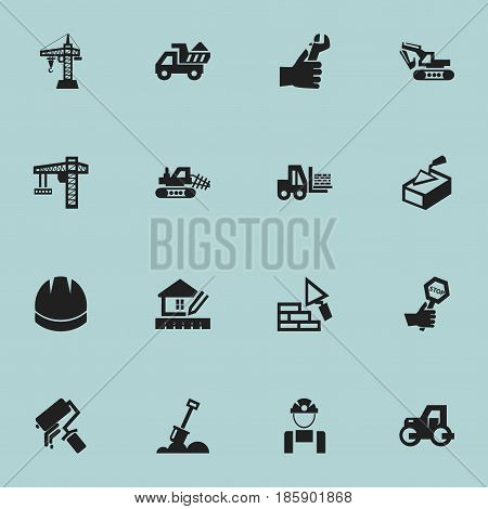 Set Of 16 Editable Building Icons. Includes Symbols Such As Employee, Hardhat, Facing And More. Can Be Used For Web, Mobile, UI And Infographic Design.